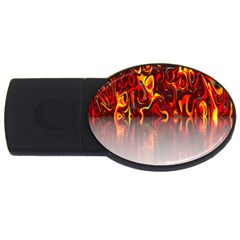 Effect Pattern Brush Red Orange Usb Flash Drive Oval (4 Gb) by Nexatart