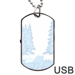 Winter Snow Trees Forest Dog Tag Usb Flash (one Side) by Nexatart