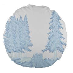 Winter Snow Trees Forest Large 18  Premium Round Cushions by Nexatart