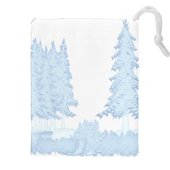 Winter Snow Trees Forest Drawstring Pouches (xxl) by Nexatart