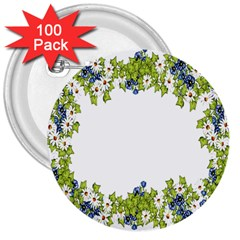 Birthday Card Flowers Daisies Ivy 3  Buttons (100 Pack)  by Nexatart