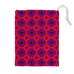 Retro Abstract Boho Unique Drawstring Pouches (extra Large) by Nexatart
