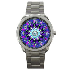 Graphic Isolated Mandela Colorful Sport Metal Watch by Nexatart