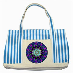 Graphic Isolated Mandela Colorful Striped Blue Tote Bag by Nexatart