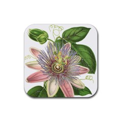Passion Flower Flower Plant Blossom Rubber Square Coaster (4 Pack)  by Nexatart