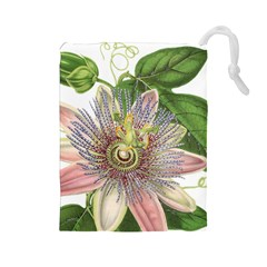 Passion Flower Flower Plant Blossom Drawstring Pouches (large)  by Nexatart