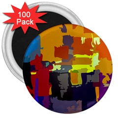 Abstract Vibrant Colour 3  Magnets (100 Pack) by Nexatart