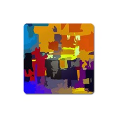 Abstract Vibrant Colour Square Magnet by Nexatart