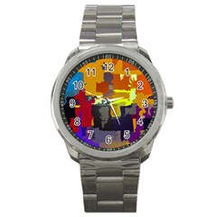 Abstract Vibrant Colour Sport Metal Watch by Nexatart