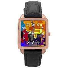 Abstract Vibrant Colour Rose Gold Leather Watch