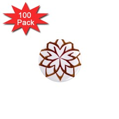 Abstract Shape Outline Floral Gold 1  Mini Magnets (100 Pack)  by Nexatart