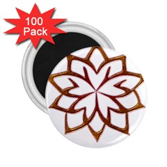 Abstract Shape Outline Floral Gold 2 25  Magnets (100 Pack)  by Nexatart