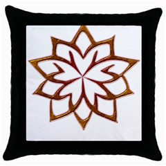 Abstract Shape Outline Floral Gold Throw Pillow Case (black)