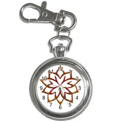 Abstract Shape Outline Floral Gold Key Chain Watches by Nexatart