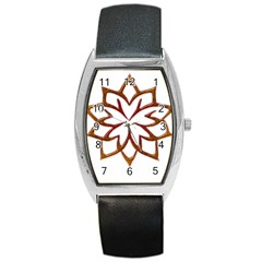 Abstract Shape Outline Floral Gold Barrel Style Metal Watch by Nexatart