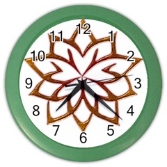 Abstract Shape Outline Floral Gold Color Wall Clocks by Nexatart
