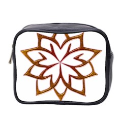 Abstract Shape Outline Floral Gold Mini Toiletries Bag 2 Side