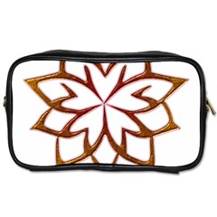 Abstract Shape Outline Floral Gold Toiletries Bags 2 Side