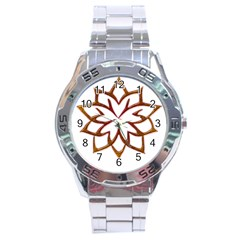 Abstract Shape Outline Floral Gold Stainless Steel Analogue Watch by Nexatart
