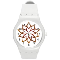 Abstract Shape Outline Floral Gold Round Plastic Sport Watch (m) by Nexatart