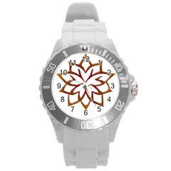 Abstract Shape Outline Floral Gold Round Plastic Sport Watch (l) by Nexatart