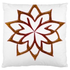 Abstract Shape Outline Floral Gold Large Cushion Case (one Side) by Nexatart