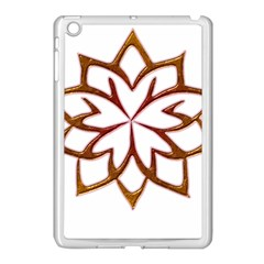 Abstract Shape Outline Floral Gold Apple Ipad Mini Case (white) by Nexatart