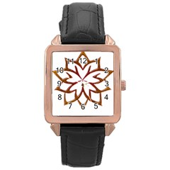 Abstract Shape Outline Floral Gold Rose Gold Leather Watch  by Nexatart