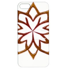 Abstract Shape Outline Floral Gold Apple Iphone 5 Hardshell Case With Stand by Nexatart