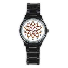 Abstract Shape Outline Floral Gold Stainless Steel Round Watch by Nexatart