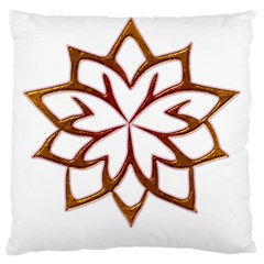 Abstract Shape Outline Floral Gold Standard Flano Cushion Case (two Sides) by Nexatart