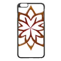 Abstract Shape Outline Floral Gold Apple Iphone 6 Plus/6s Plus Black Enamel Case by Nexatart