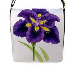 Lily Flower Plant Blossom Bloom Flap Messenger Bag (l)