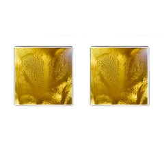 Beer Beverage Glass Yellow Cup Cufflinks (square) by Nexatart