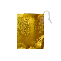 Beer Beverage Glass Yellow Cup Drawstring Pouches (small)  by Nexatart