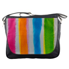 Watercolors Stripes             Messenger Bag by LalyLauraFLM