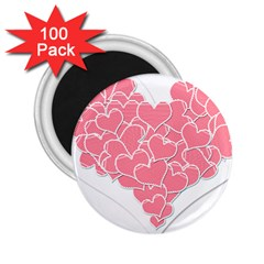 Heart Stripes Symbol Striped 2 25  Magnets (100 Pack)  by Nexatart
