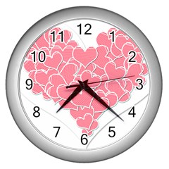 Heart Stripes Symbol Striped Wall Clocks (silver)  by Nexatart