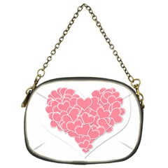 Heart Stripes Symbol Striped Chain Purses (one Side)  by Nexatart
