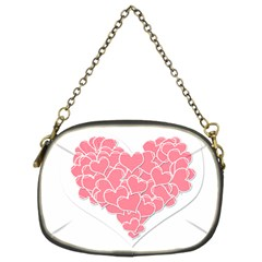 Heart Stripes Symbol Striped Chain Purses (two Sides)  by Nexatart