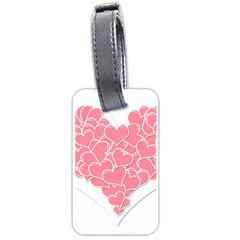 Heart Stripes Symbol Striped Luggage Tags (two Sides) by Nexatart