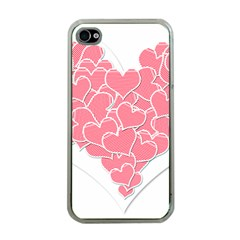 Heart Stripes Symbol Striped Apple Iphone 4 Case (clear)