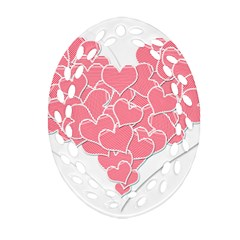 Heart Stripes Symbol Striped Oval Filigree Ornament (two Sides) by Nexatart