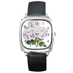 Flower Plant Blossom Bloom Vintage Square Metal Watch