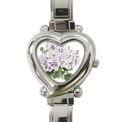 Flower Plant Blossom Bloom Vintage Heart Italian Charm Watch by Nexatart