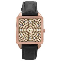 Kaleidoscope Online Triangle Rose Gold Leather Watch
