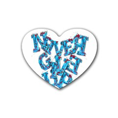 Sport Crossfit Fitness Gym Never Give Up Heart Coaster (4 Pack)  by Nexatart