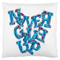 Sport Crossfit Fitness Gym Never Give Up Large Cushion Case (two Sides) by Nexatart