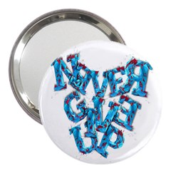 Sport Crossfit Fitness Gym Never Give Up 3  Handbag Mirrors by Nexatart