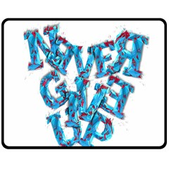 Sport Crossfit Fitness Gym Never Give Up Double Sided Fleece Blanket (medium)